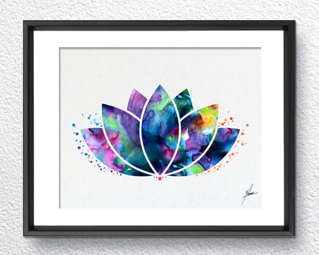 Lotus Flower Yoga Symbol Watercolor Illustrations Art Print Poster Handmade Wall Decor Art Home Decor Wall Hanging aum om Item 288