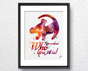 The Lion King Simba Quote Watercolor Art Print Wall Art Home Decor Giclee Inspirational Art Home Decor Wall Hanging Item297