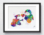 Wall-E and Eve Love Movie Watercolor Art Print Wall Art Poster Giclee Wall Decor Art Home Decor Wall Hanging, Item 302