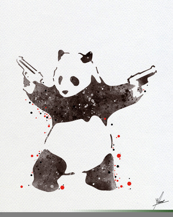 Banksy Panda Bear Watercolor Painting Print - 275