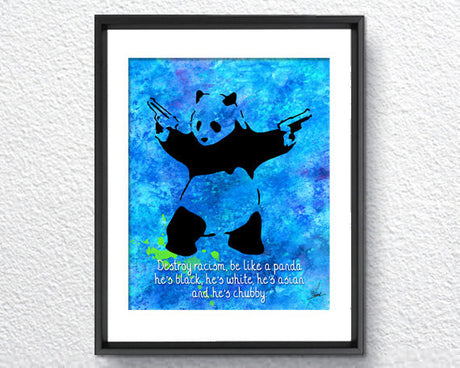 Banksy Panda Bear Watercolor Painting Art Print Wall Art Poster Giclee Wall Decor Art Wall Hanging 276