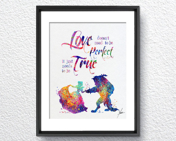 Beauty and The Beast Watercolor Print Disney Fine Art Print Kids Art for Boys and Girls Nursery Art Wedding Gift Prince Room Item 312