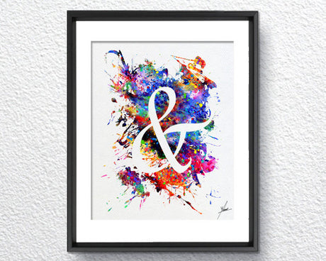 Ampersand Typography Poster Art Print Watercolor Art Print Poster Giclee Wall Decor Art Home Decor Wall Hanging Typography Art Item 282
