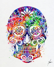 Sugar Skull Day Watercolor Illustrations Art Print Poster Handmade Wall Decor Art Home Decor Wall Hanging aum om Item 284