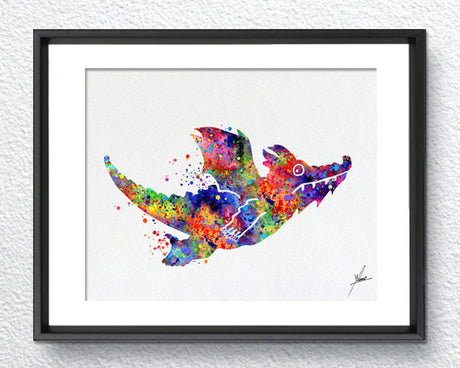 Room on the Broom Dragon Watercolor Print Disney Pixar Nursery Illustration Giclee Wall Comic Baby Room Decor Wall Art Wall HangingItem 287