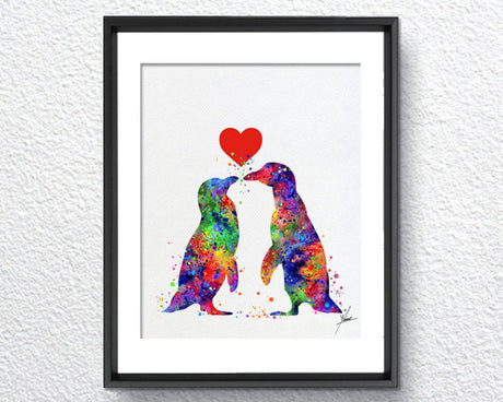 Penguin Watercolor Illustrations Art Print Poster Handmade Wall Decor Art Home Decor Wall Hanging aum om Item 317