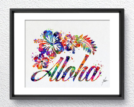 Hawaii Aloha Watercolor illustrations Art Print Wall Art Poster Giclee Wall Decor Art Home Decor Wall Hanging Item289