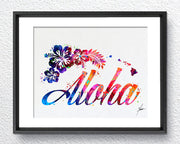 Hawaii Map Aloha Watercolor illustrations Art Print Wall Art Poster Giclee Wall Decor Art Home Decor Wall Hanging Item290