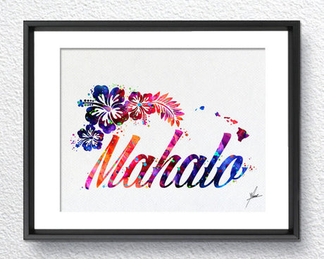Hawaii Mahalo Watercolor illustrations Art Print Wall Art Poster Giclee Wall Decor Art Home Decor Wall Hanging Item292