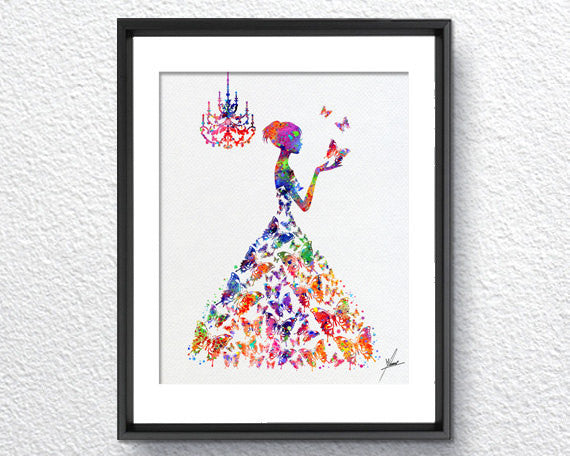 Princess Watercolor Art Print Wall Art Poster Giclee Wall Decor Art Home Decor Wall Hanging, Item 322
