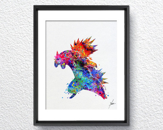 Typhlosion Pokemon Go Inspired Watercolor Illustrations Art Print Poster Handmade Wall Decor Art Home Decor Wall Hanging Item 324