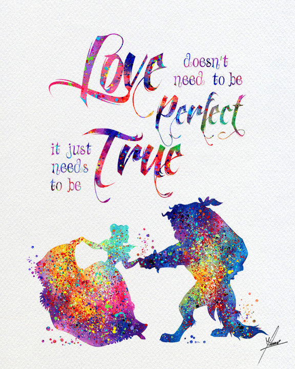 Beauty and The Beast Watercolor Print Disney Fine Art Print Kids Art ...