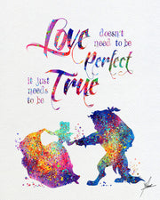 Beauty and The Beast Watercolor Print - Item312