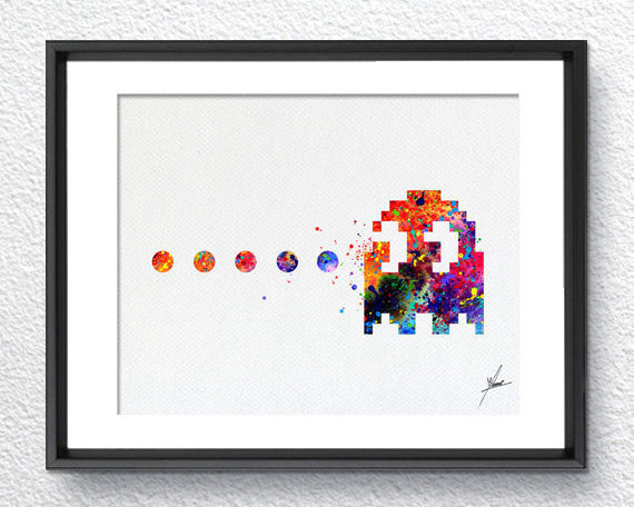 Pac-Man Atari Video Game inspired, Watercolor Art, Print, Poster Giclee, Wall Decor, Art Home Decor, Wall Hanging, Item 332