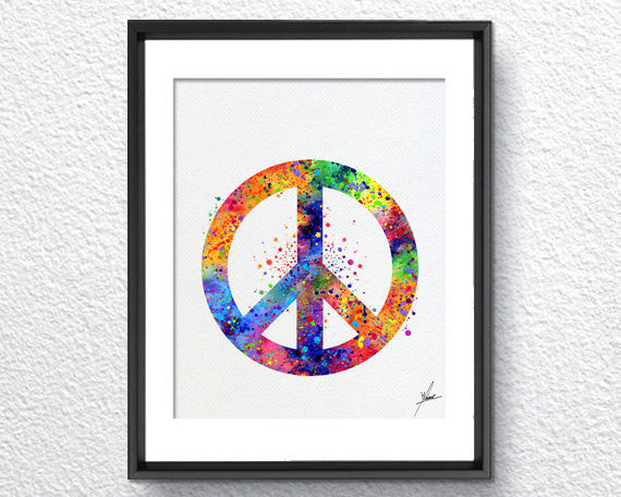 Peace And Love Symbol Watercolor Art Print Poster Giclee Wall Decor