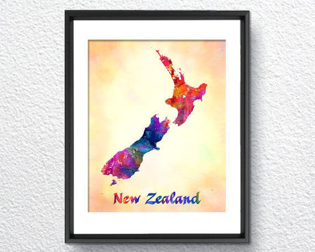 New Zealand Color Map, Watercolor Print, Art Print, Wall Art Poster, Wall Decor, Art Home Decor, Wall Hanging Item 345