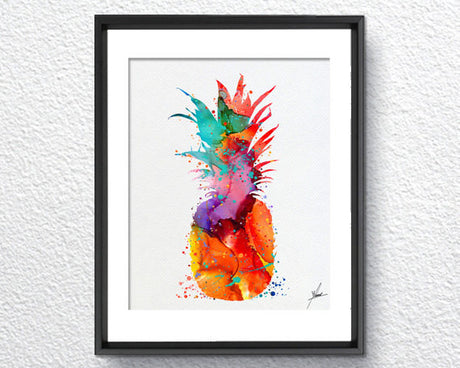 Pineapple Watercolor illustrations Art Print Kitchen Wall Art Poster Giclee Wall Decor Art Home Decor Wall Hanging Item293