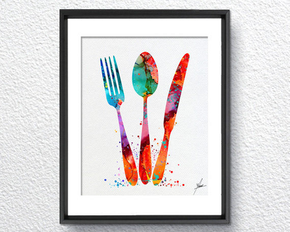 Kitchen Cutlery Fork Knife Spoon Watercolor Art Print Painting Dining Room