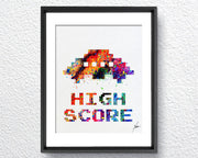 Pac-Man Atari Video Game inspired, Watercolor Art, Print, Poster Giclee, Wall Decor, Art Home Decor, Wall Hanging, Item 331