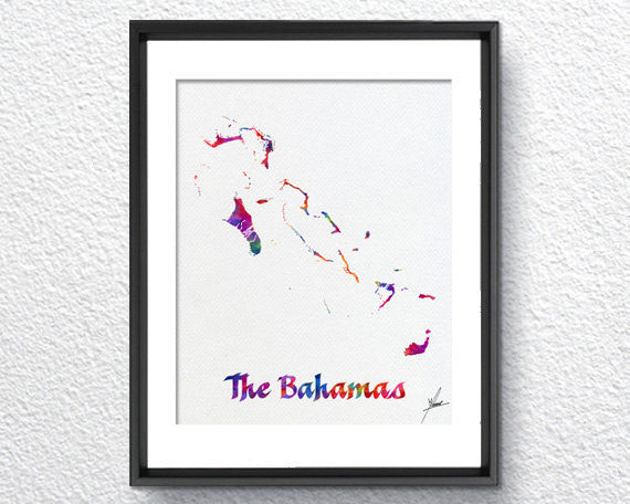 The Bahamas map, Watercolor Print, Art Print, Wall Art Poster, Wall Decor, Art Home Decor, Wall Hanging Item 339