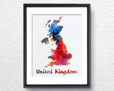 United Kingdom Map, Watercolor Print, Art Print, Wall Art Poster, Wall Decor, Art Home Decor, Wall Hanging Item 343