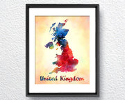 United Kingdom Map, Watercolor Print, Art Print, Wall Art Poster, Wall Decor, Art Home Decor, Wall Hanging Item 344