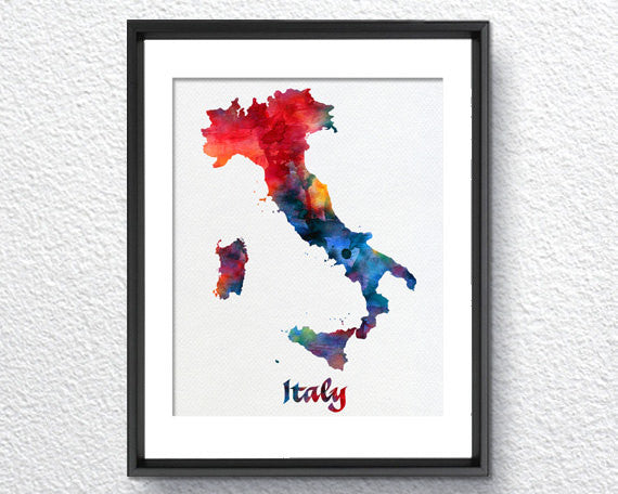 Italy Map Wall Art.Italy Map Watercolor Print Art Print Wall Art Poster Wall Decor