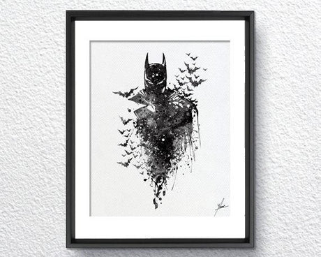 Batman Print - Watercolor illustrations - Wall Art Poster - AbstractWall - Abstract - Decor - Art Home Decor - Wall Hanging Item 351