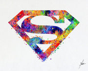 Superman Symbol - Watercolor illustrations - Wall Art Poster - AbstractWall - Abstract - Decor - Art Home Decor - Wall Hanging Item 352