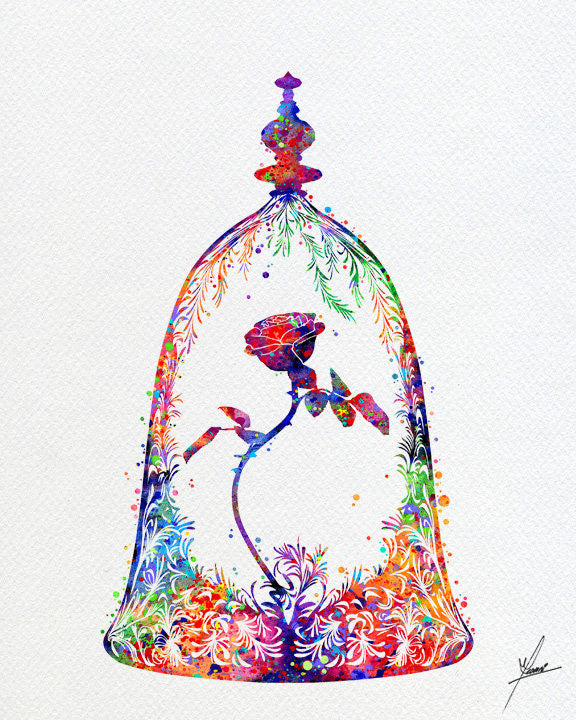 Beauty and The Beast Enchanted Rose Art Print - Item356