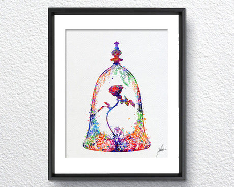 Beauty and The Beast, Enchanted Rose, Live Forever Rose, Rose in a Glass Dome, Belle Rose, Watercolor, Disney Fine Art, Nursery Art Item356