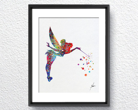 Thinkerbell, Watercolor Print, Wall Decor, Birthday Gift, Disney Inspired, Item 040