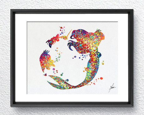 Little Mermaid Inspired, Watercolor Print, Wall Decor, Kids Room, Item 020