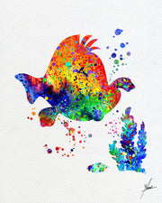 Little Mermaid Inspired, Flounder, Watercolor Print, Wall Decor, Kids Room, Item 027