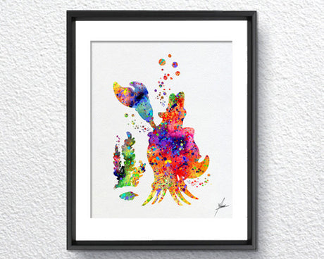 Little Mermaid Inspired, Sebastian, Watercolor Print, Wall Decor, Kids Room, Item 026
