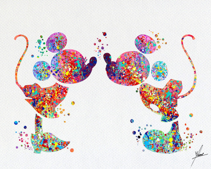 Mickey and Minnie Love Kiss Watercolor Print Disney Fine Art Print ...