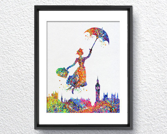Mary Poppins Watercolor Illustrations Art Print Wall Art Poster Giclee Wall Decor  Art Home Decor Wall