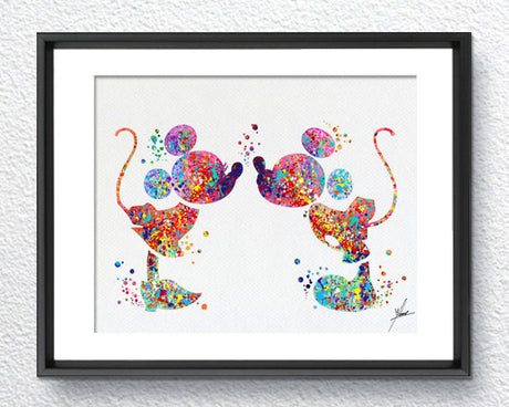 Mickey and Minnie Love Kiss Watercolor Print Disney Fine Art Print Kids Art for Boys and Girls Nursery Art Wedding Gift Prince Room Item 014