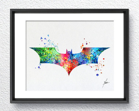 Batman, Bat Modern Logo, Watercolor Print, Super Heroe, Wall Art, Wall Decor,  Item 007