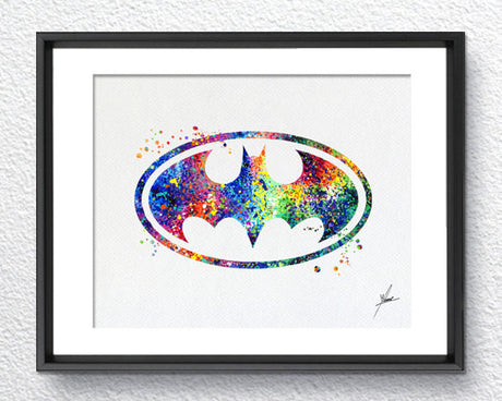 Batman, Classic Logo, Watercolor Print, Super Heroe, Wall decor, Wall Hanging, Gift, Item 008