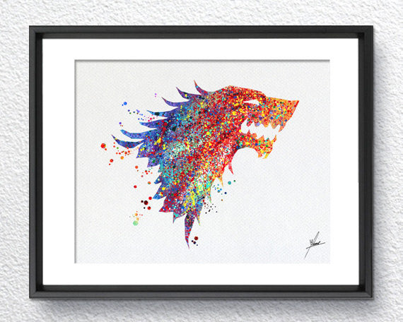 Game of Thrones Stark Watercolor illustrations Wall Art Poster  Wall Decor Art Home Decor Wall Hanging Item 058