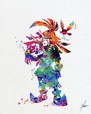 Skull Kid Majora's Mask inspired Legend of Zelda Watercolor Art Print Poster Giclee Wall Decor Art Home Decor Wall Hanging Item 063