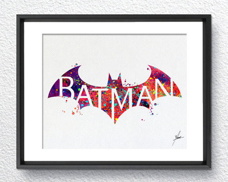Batman, Bat Modern Logo, Watercolor Print, Super Heroe, Wall Art, Wall Decor,  Item 071