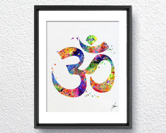 Ohm Symbol Watercolor illustrations Art Print Poster Handmade Wall Decor Art Home Decor Wall Hanging aum om Item 075