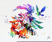 Skull Kid Majora's Mask inspired Legend of Zelda Watercolor Art Print Poster Giclee Wall Decor Art Home Decor Wall Hanging Item 076
