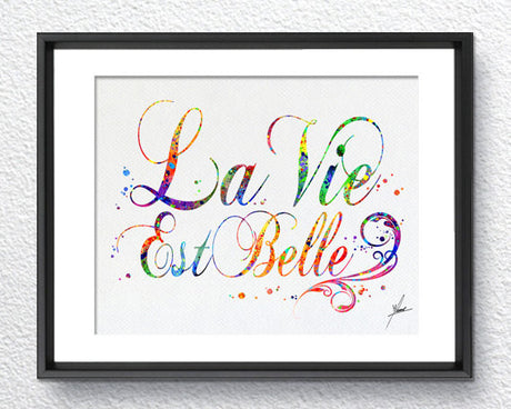 "La Vie Est Belle French Art Print ""Life is Beautiful"" Watercolor Art Print Poster Giclee Wall Decor Art Home Decor Wall Hanging Item 077"