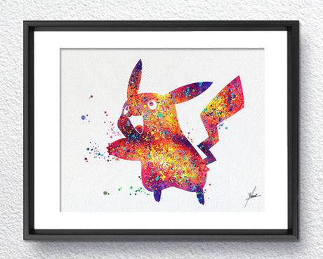 Pikachu Pokemon Watercolor illustrations Art Print Poster Handmade Wall Decor Art Home Decor Wall Hanging Item 079