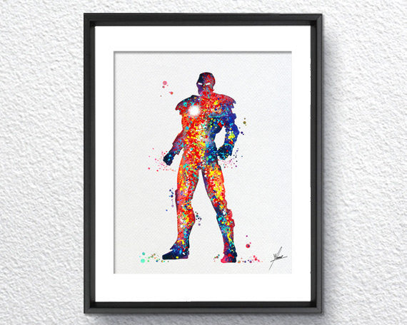 Iron Man, Movie Inspired, Watercolor Print, Super Heroes, Wall Decor, Watercolor, Item 018