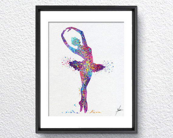 Ballerina Ballet Watercolor illustrations Art Print Wall Art Poster ...