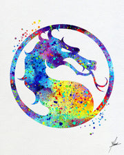 Mortal Kombat Logo Inspired Watercolor Art Print Poster Giclee Wall Decor Art Home Decor Wall Hanging Video Game Item 087